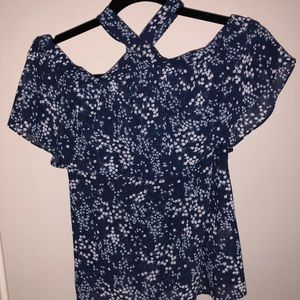 Blue small floral off the shoulder blouse